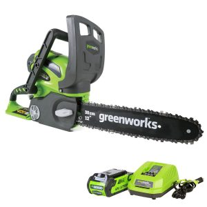 Greenworks 12-Inch 40V Cordless Chainsaw | 2.0 AH Battery Included