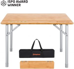 KingCamp Bamboo Folding Table with Carry Bag ISPO Award 4 Fold Heavy Duty Adjustable Height