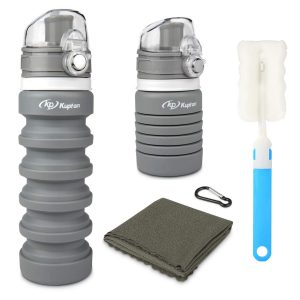 Collapsible Sports Travel Water Bottle Lightweight for Traveler Walking Camping Hiking Gray 18oz Leak Proof Eco-Friendly BPA Free Silicone Folding Reusable Portable Drinking Bottles w// Lid Cap