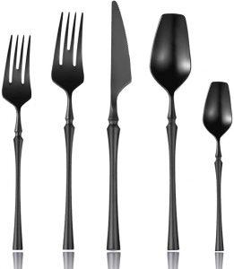 Lemeya 20-Piece Stainless Steel Matte Black Silverware Set
