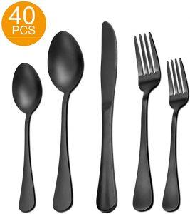 Matte Black Silverware Set | 40 Pieces Stainless Steel Flatware Set Utensils Cutlery Tableware Set Steak Knife Fork and Spoon Set