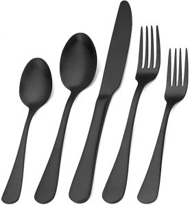 Matte black silverware set for 20 pieces. They are made of stainless steel for home use and restaurant use.