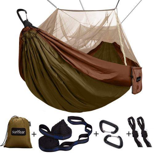 Grassman Bug Net Camping Hammock Backpacking Hiking Single Camping Hammock with Tree Ropes Travel Portable Parachute Nylon Hammock for Indoor and Outdoor Camping Beach