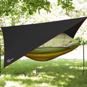 Trekassy Portable Double Camping Hammock comes with a Removable Mosquito Bug Net, Rain Fly and Tree Straps for Indoor & Outdoor hanging.
