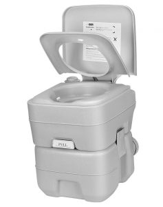 VIVOHOME 5.3 Gallon Waste Tank Portable Indoor Outdoor Toilet | Compact Double-Outlet Commode with Anti-Leak Seal Ring and Cleaning Brush