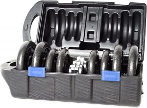 cap barbell 40 pound adjustable dumbbell set with case