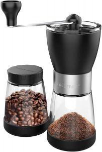 Hand coffee grinder mill with Ceramic Burrs, Two Clear Glass Jars 5.5 oz Each, Stainless Steel Handle, Suitable for Camping and Home Use