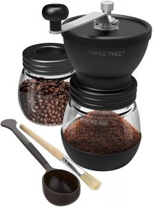 Hand Coffee Mill with Two Glass Jars(11oz each), Brush and 2 Tablespoon Scoop