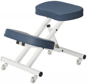 Metal kneeling chair with rolling wheels