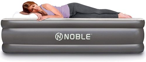 Inflatable Airbed with Built-in Pump Elevated Raised Air Mattress Quilt Top