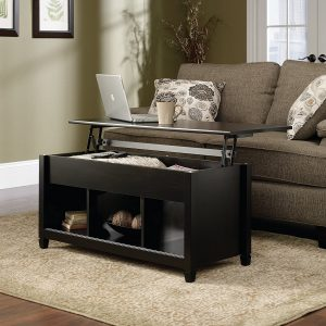 sauder edge water lift-top coffee table, estate black finish