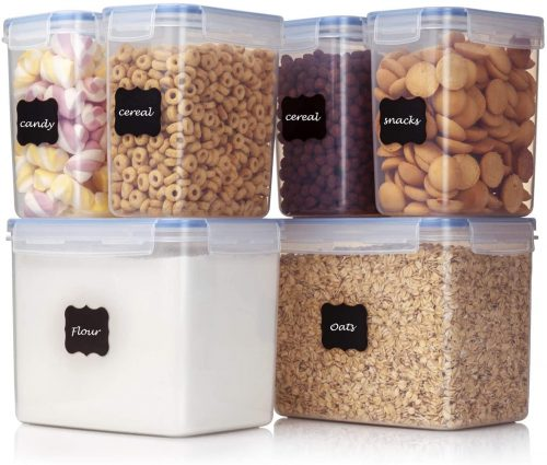 Vtopmart Airtight Food Storage Containers 6 Pieces - Plastic PBA Free Kitchen Pantry Storage Containers for Sugar,Flour and Baking Supplies - Dishwasher Safe - 24 Labels