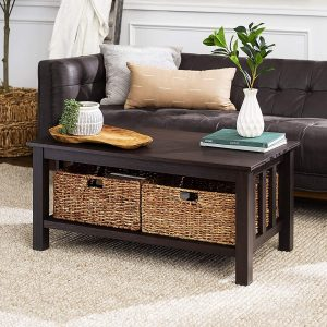 wood coffee table with storage