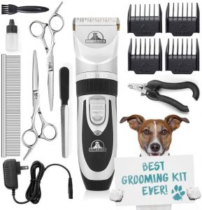 Rechargeable, Cordless Pet Grooming Clippers & Complete Set of Dog Grooming Tools
