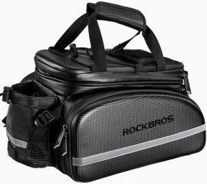 Waterproof Carbon Leather Bicycle Rear Seat Cargo Bag Rear Pack Trunk Pannier Handbag