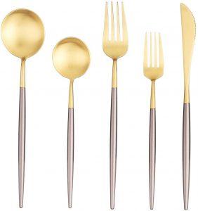 Gold Dinnerware Set Cutlery Tableware Include Knife Fork Spoon