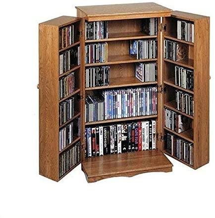 oak multimedia storage cabinet