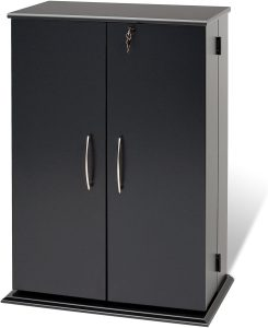 Black multimedia storage cabinet