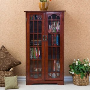 multimedia storage cabinet with doors