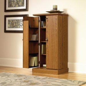 wooden multimedia storage cabinet