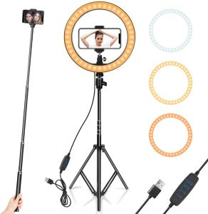"Ring Light 10"" with tripod stand by AIXPI"
