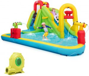 Kids Bounce House w/Slides, Climbing Wall & Splash Pool, Water Cannons, Basketball Rim, Carry Bag, Outdoor Party Water