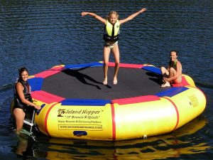 inflatable trampoline on water