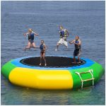 Inflatable Bouncer Jump Water Trampoline Bounce, Swim Platform for Water Sports