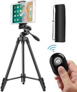Alloy 3-Way Head Tripod for DLSR Camera with Carrying Bag and Bluetooth Remote Control