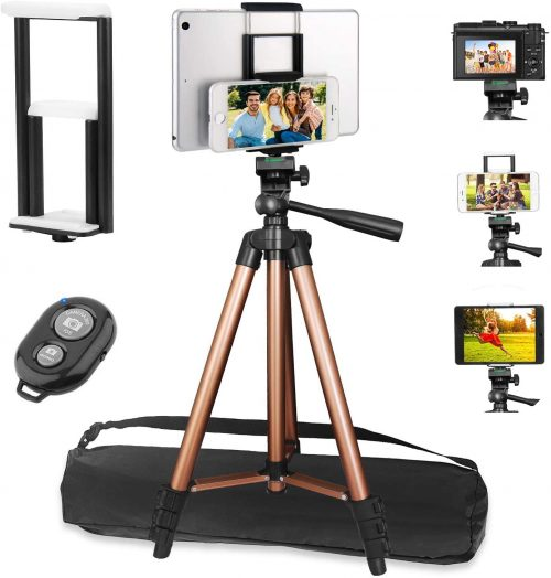 50 Inch Extendable Lightweight Aluminum Smartphone Camera Tablet Tripod Stand for Video