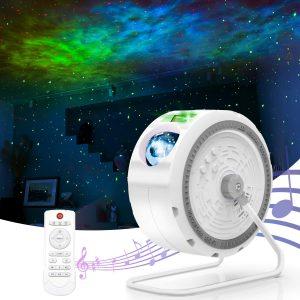 Kids Bedroom Night Light Projector Built-in Music Speaker & Timer