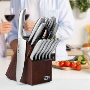14-Piece Kitchen Knife Set with Sharpener Wooden Block