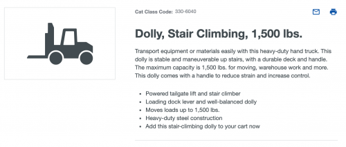 Electric stair climbing dolly for rent