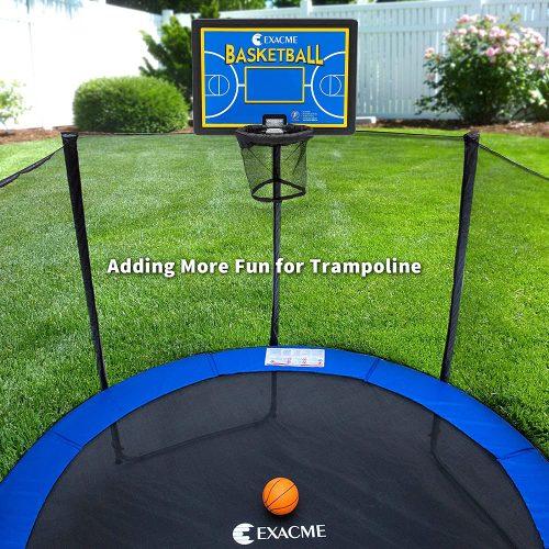 Trampoline basketball hoop on display