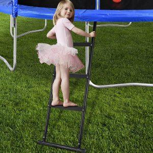 Gardenature 3-Wide-Step Ladder Attached to Trampoline