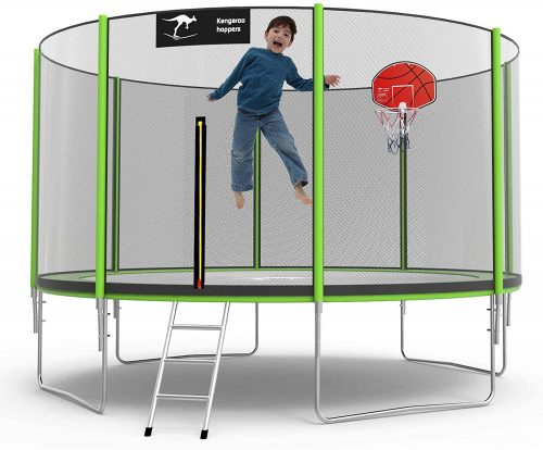 The kid playing basketball in trampoline