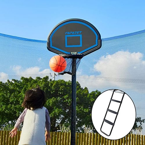 A small girl throwing the basketball into the hoop in trampoline