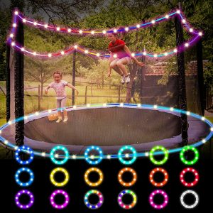 A girl with her little sister playing together in Trampoline with Maxee Lights