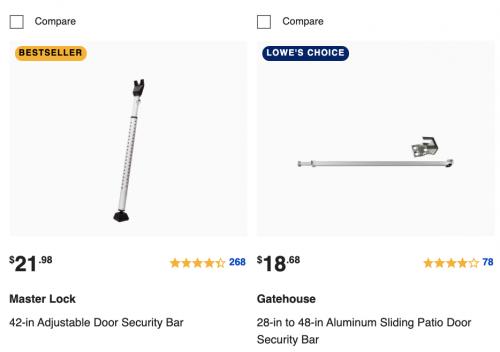 Buy Door Security Bar on Lowe's