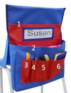 School Seat Chair Storage Pocket Organizer